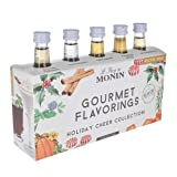 Monin - 5 Flavor Holiday Cheer Collection: Salted Caramel, Peppermint, Cinnamon, Pumpkin Spice, and Gingerbread, Natural Flavors, Great for All Drinks, Vegan, Non-GMO, Gluten-Free (1.7 oz per bottle)