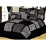 7Pcs Queen Safari Black and White Patchwork Micro Suede Comforter Set
