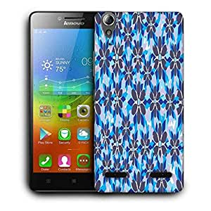 Snoogg Grey Floral Blue Printed Protective Phone Back Case Cover For Lenovo A6000