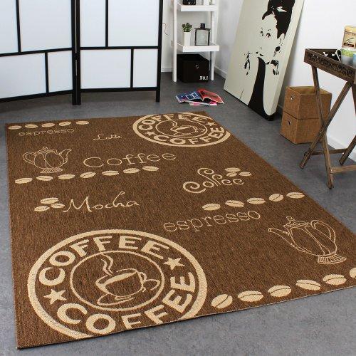 teppich modern flachgewebe sisal optik k chenteppich coffee braun beige t ne gr sse 120x170 cm. Black Bedroom Furniture Sets. Home Design Ideas