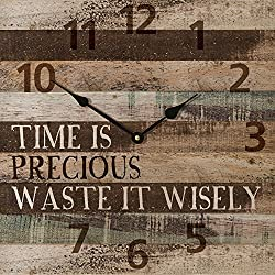 Time Is Precious... Waste It Wisely ...Rustic Wood Wall Sign Clock (13.5)