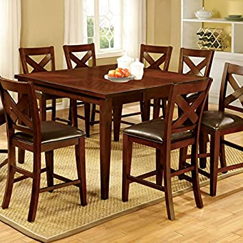 Homedale Transitional Style Vintage Cherry Finish 7-Piece Counter Height Table Set