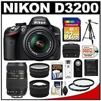 Nikon D3200 Digital SLR Camera & 18-55mm VR DX AF-S (Black) with Tamron 70-300mm Zoom Lens + 32GB Card + Case + Tripod + 2 Lens Set + Accessory Kit (Refurbished by Nikon USA)