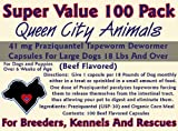Queen City Animals Beef Flavored Praziquantel Tapeworm Wormer Capsules For Dogs 18 Pounds And Over. *** Super Value 100 Pack *** One Hundred Capsules. The Same Active Ingredient As The Major National Brands! For Medium to Large Dogs. Not For Little Dogs.