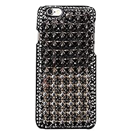 iPhone 6 Plus Case, STENES Luxurious Crystal 3D Handmade Sparkle Diamond Rhinestone Clear Cover with Retro Bowknot Anti Dust Plug - Fashion Punk Rivet Classic / Black&Gold