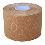 Thera-Band  Kinesiology Tape for Pain Relief and Joint and Muscle Support, Standard roll with XactStretch print to Eliminate Misapplication, 2 Inch x 16.4 Foot Roll, Beige/Beige