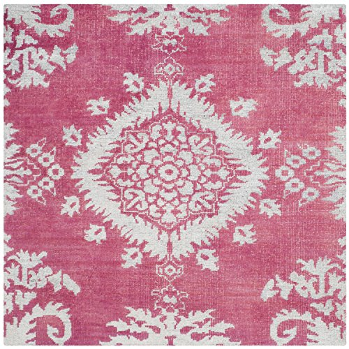 Safavieh Stone Wash Collection STW235C Hand-knotted Fuchsia and Cotton Square Area Rug, 6-Feet