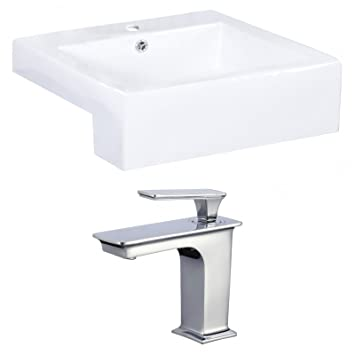 "Jade Bath JB-17898 20"" W x 20"" D Rectangle Vessel Set with Single Hole CUPC Faucet, White"
