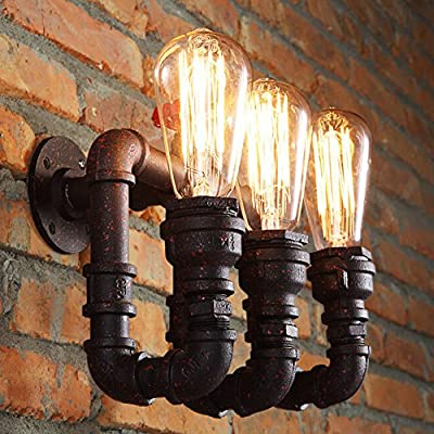 Sanyi Vintage Water Pipe Wall Light Fixture Industrial Brass 3-Light Wall Sconce Edison Lamp Retro Metal Wall light Retro Ceiling Pedant Light Fixture Retro Wall Lamp