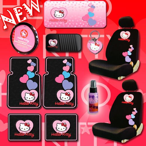 NEW Hello Kitty Heart Design Low Back Seat Covers Steering Wheel Cover Front and Rear Floor Mats CD Organizer Large Sunshade Keychain and 2oz Purple Slice Combo Set