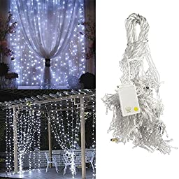 EAGWELL Led Light Curtain Lights 300led 9.8feet 8modes Linkable Cold White Christmas Curtain String Fairy Wedding Lights for Home, Garden, Kitchen, Outdoor Wall, Party, Window Decorations