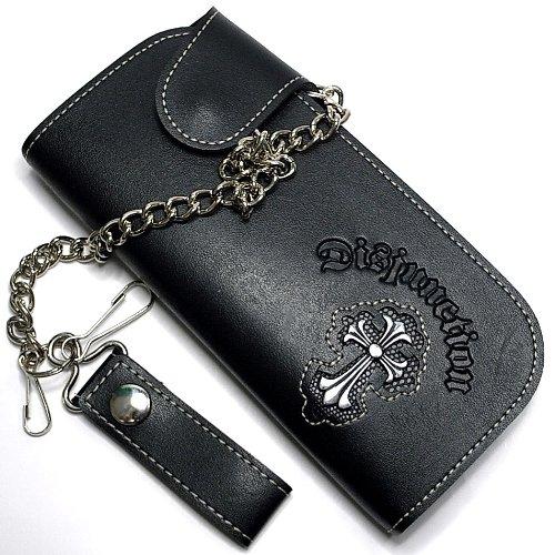 長財布 メンズ クロス チェーン付き 小銭入れ付 ブラック/黒 (オマケ付)かっこいい財布