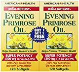 American Health Dietary Fiber Supplements, 1300 mg, Royal Brittany Evening Primrose Oil Epo, 120 Count