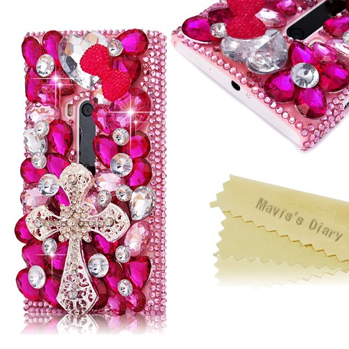 Mavis'S Diary 3D Handmade Crystal Butterfly Crown Cross Love-Line Rhinestone Dimond Disign Case Pink Cover With Soft Clean Cloth (Nokia Lumia 920, Cross)