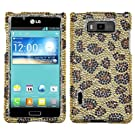 Asmyna LGUS730HPCDM113NP Luxurious Dazzling Diamante Case for LG Splendor/Venice S730 - 1 Pack - Retail Packaging - Leopard Skin