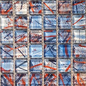 Glass Mosaic Tile American Theme artistic red blue white for bathroom kitchen backsplash bar pool spa 1 sq.ft #GM2026