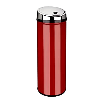 Dihl poubelle automatique ronde rouge 50 l - Poubelle cuisine rouge ...