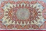 玄関マット 室内 屋内 ペルシャ絨毯 竹 レーヨン100% 約60X90cm 100万ノット windsor6090 (レッド)