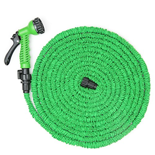 Wyzworks 50 75 100 feet 75 feet lightweight expandable garden hose green 7 function spray Expandable garden hose 100 ft