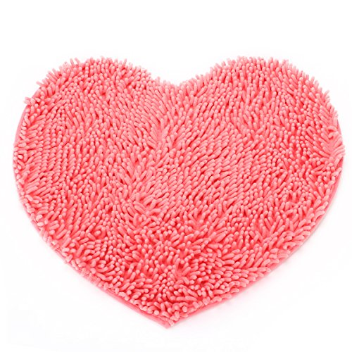 Pink Chenille Love Heart Shape Bedroom Rug Carpet Floor Bath Mat front-270124