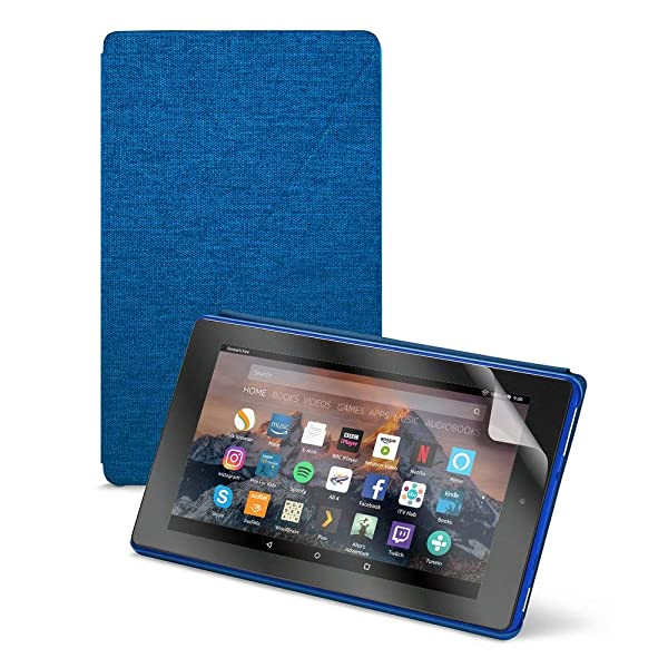 Fire HD 8 Tablet (8 HD Display, 32 GB) - Blue + Amazon Fire HD 8 Tablet Case, Marine Blue + NuPro Clear Screen Protector (2-Pack) (Color: Marine Blue)