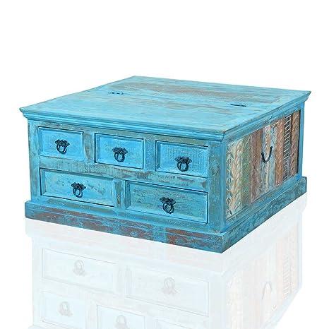 Holztisch Truhe in Blau Shabby Chic Pharao24
