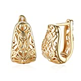 14K Gold Plated Filigree Wide Hoop Earrings For Womens Girls Oval Hollowed-out Hoops