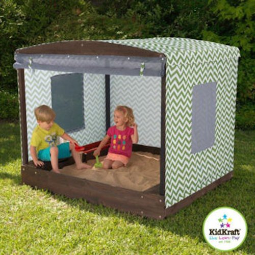 Kidkraft Fun In The Sun Cabana Sandbox. A Covered Sandbox With A Shade Tent Wrapped Around The Entire Box