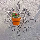 Wrought Iron Wall Bracket With Metal Bucket - Tuscan - Black & Yellow