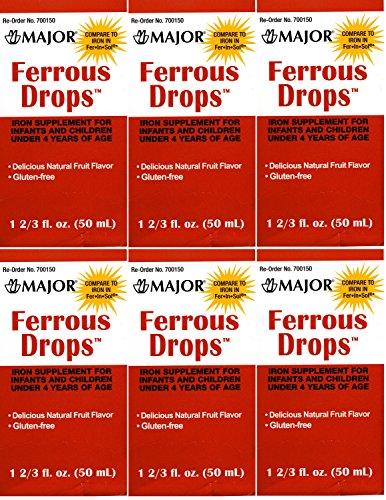 Ferrous Drops Iron Supplement Gluten Free Natural Fruit Flavor Generic For Enfamil Fer-In-Sol Iron Supplement Drops For Infants, Toddlers & Children Measuring Syringe Included 50 Ml Per Bottle Pack Of 6