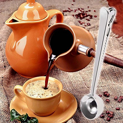 Foreveryang Home Stainless Steel Tea Ground Coffee Measuring Spoon Scoop With Bag Clip
