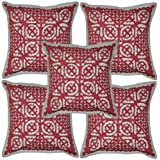 Patchwork Mirror Work Embroidery Cushion Cover 16 Inches Set 5 Pcs