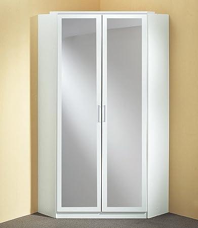 Eckkleiderschrank in alpinweiß mit 2 Spiegelturen, 8 Einlegeböden und 2 Kleiderstangen, Aufstellmaß 120 x 120 cm, Maße: B/H/T ca. 95/198/95 cm