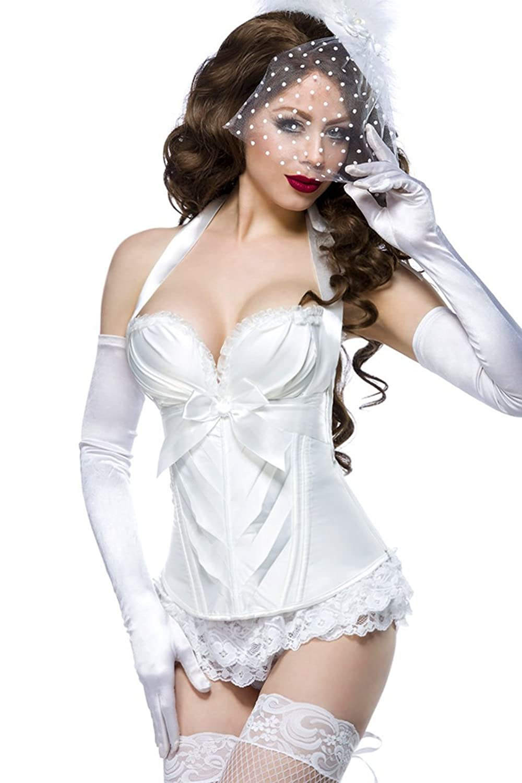 Weiße Dessous Burlesque Satin-Corsage mit Rüschen, Cups und Schnürung günstig