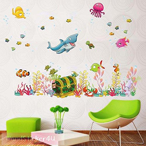 wandsticker4u-wandtattoo-unterwasserwelt-mit-schatztruhe-bunt-effektbild-122x68-cm-fische-hai-seepfe