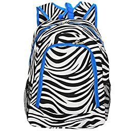 World Traveler Multipurpose Backpack 16-Inch, Teal Trim Zebra, One Size