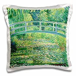 3dRose Famous Monets Water Lillies with Lavender Frame-Pillow Case, 16 by 16 (pc_46577_1)