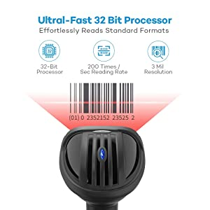 Barcode Scanner, HooToo USB Handheld Wired Barcode 1D Laser Scanner Bar Code Reader, Fast and Precise Scan Support Windows,Mac OS System for Store, Su