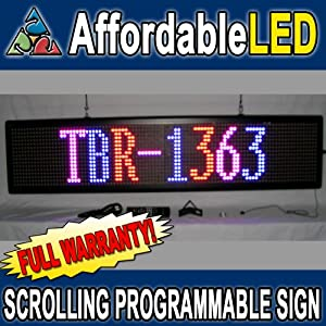 "Programmable Scrolling LED Sign - Indoor Display 13""H x 63""L x 3 1/2""D (Color: RED, BLUE, PINK)"