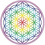 "Aufkleber Set 4x4,5cm ""Blume des Lebens"" Regenbogen-Chakra transparent"