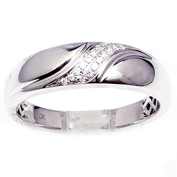 Midwest Jewellery Men's Wedding Band White Gold Ring