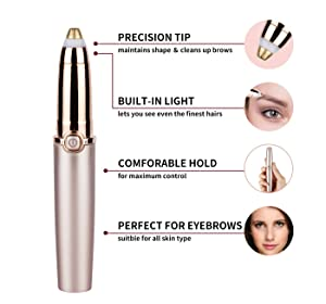 Eyebrow Hair Remover, Electric Eyebrow Hair Remover Trimmer Epilator for Women, Portable Painless Eyebrow Razor with Light (Battery Not Included), Rose Gold. (Tamaño: 1)