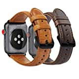 KADES Compatible for Apple Watch Band Genuine Leather Replacement Strap Compatible for Apple Watch Series 4 44mm & Series 3/2/1 42mm, Brown & Coffee with Black Hardware (Color: Brown and Coffee, with Black Hardware, Tamaño: 42mm/ 44mm)