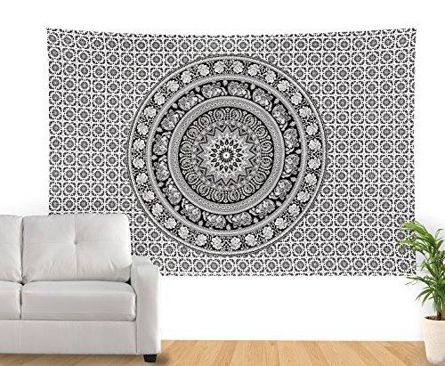 sheetkart-noir-et-blanc-couvre-lit-couvre-lit-traditionnel-indien-mandala-elephant-tapisserie-hippie