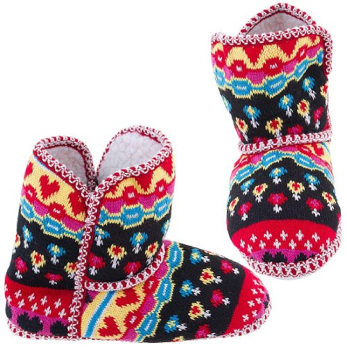 Cheap Chatties Colorful Knit Fair-Isle Bootie Slippers for Women (B005Y4T9IG)