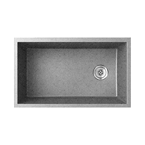 Swaoi|#Swanstone QU03322SB.173 19.25-In X 31.875-In Granite Kitchen Sink, Metallico,