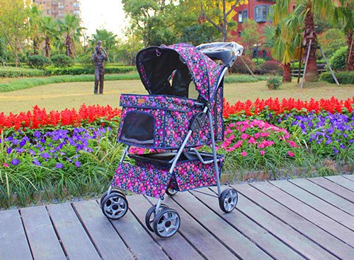 Fashion Flower 4 Wheels Pet Dog Cat Stroller w/RainCover