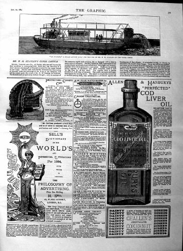 1884 Le Stanley Steam Boat Congo Cod Liver Oil Canopy