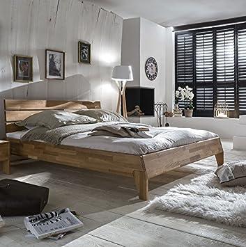 Bett 180 x 200 cm massiv Wildeiche geölt natur