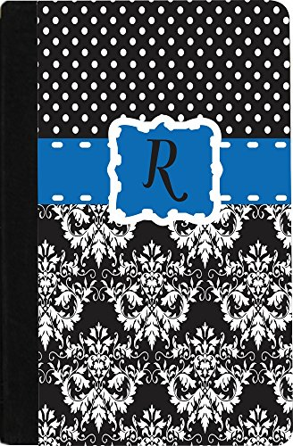 """Rikki Knighttm Rikki Knight Initial """"R"""" Lime Green Black Damask Dots Monogrammed Design Kindle® Firetm Notebook Case Black Faux Leather (Not For Kindle Fire Hd) front-593514"""
